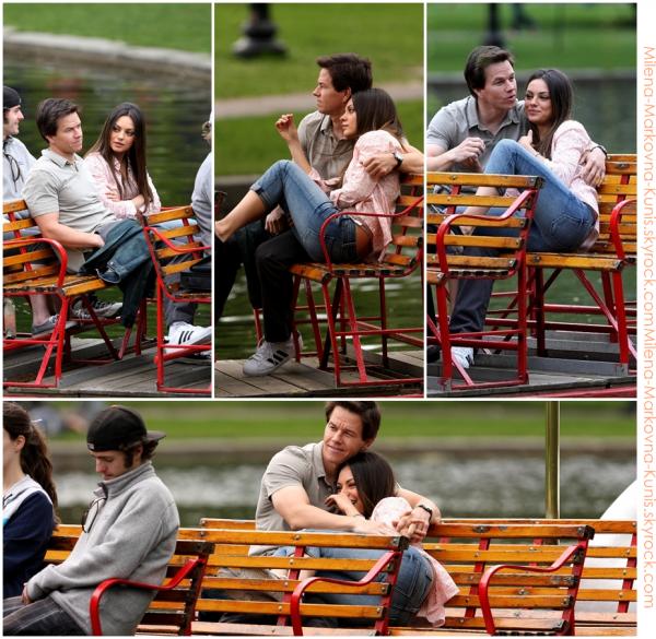 09/05/11 - Mila, tournant une scène de son nouveau film, Ted, en compagnie de l'acteur Mark Wahlberg, toujours à Boston.  .   + Nouveux still du film Sex with benefit.