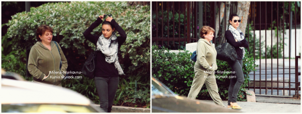 . Spotted : Mila accompagnée de sa maman,sortant d'un spa puis se dirigeant vers un restaurant ..................(WEST HOLLYWOOD) - 8octobre 2011.