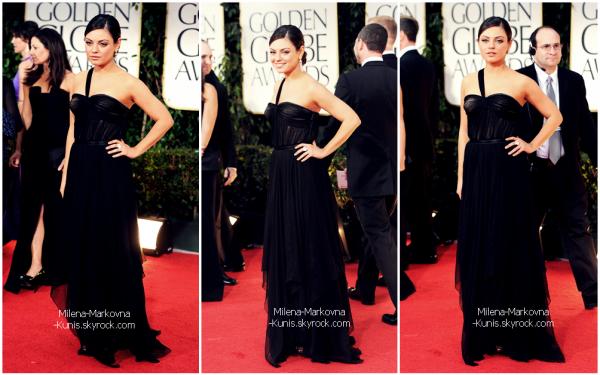 . Spotted : Mila magnifiquement belle,était présente au 69th Annual Golden Globe Awards.................  ................(BEVERLY HILLS) - 15janvier 2012 . Un mot: stunning! Mila est tellement belle dans sa robe signée Christian Dior  C'est un énorme TOP,des pieds à la tête,en passant pas ce make-up frais,très léger.  Mila était présente afin de remettre le premier prix de la soirée, celui du meilleur  second rôle masculin. (à Christopher Plummer pour Beginners.)  .