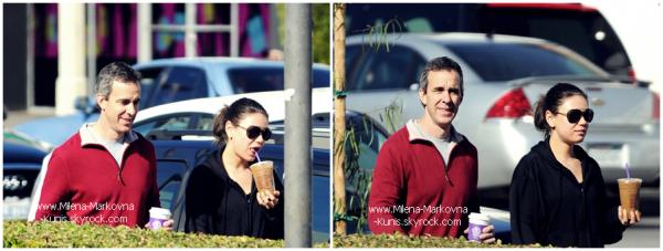. Spotted : Mila et son coach sportif (encore et toujours) s'offrant un café après être allés à la gym. ................(LOS ANGELES) - 24janvier 2012 . Spotted : Plus tard dans la journée,Mila a été appercue se dirigeant vers sa voiture après s'être arrêtée dans ................un café.  (LOS ANGELES) - 24janvier 2012   . Spotted: Mila s'est offerte une manucure,puis s'est dirigée vers Starbucks Coffee ce jeudi. ................(BEVERLY HILLS) - 26janvier 2012 . Spotted : Mila ne quitte plus ses joggings et encore moins son coach sportif. Ils ont étés vu entrant chez .............. Coffee Bean & Tea Leaf.(LOS ANGELES) - 31janvier 2012 . . Décidément,elle semble vraiment accro à la caféine. Café+clope.. c'est pas top Mila! .
