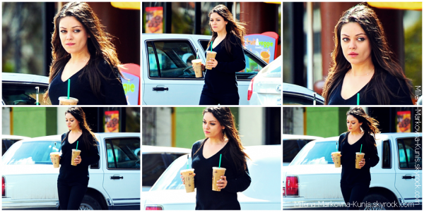 . Spotted : Mila, sortant de chez son/sa dermatologiste à Beverly Hills. ....................(LOS ANGELES) - 20mars 2012 . Spotted : Mila, s'offrant deux café glacés à West Hollywood................(LOS ANGELES) - 18mars 2012. Spotted : Mila sortant de The Late Show à Glasgow.   ............... (SCOTLAND) - 15mars 2012.  Spotted : Mila, arrivant à l'aéroport de LAX, prenant un vol pour Londres.   ............... (LOS ANGELES) - 13mars 2012.