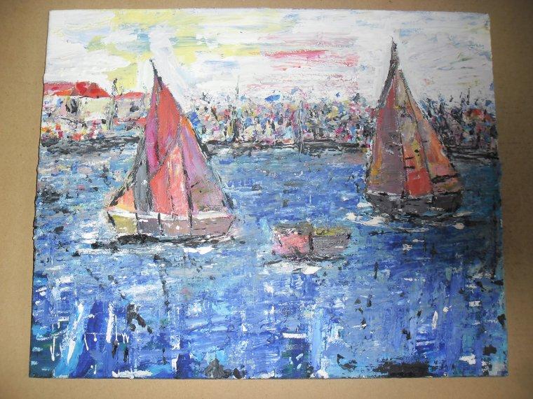 LES VOILIERS ROUGES 2 (peinture acrylique)