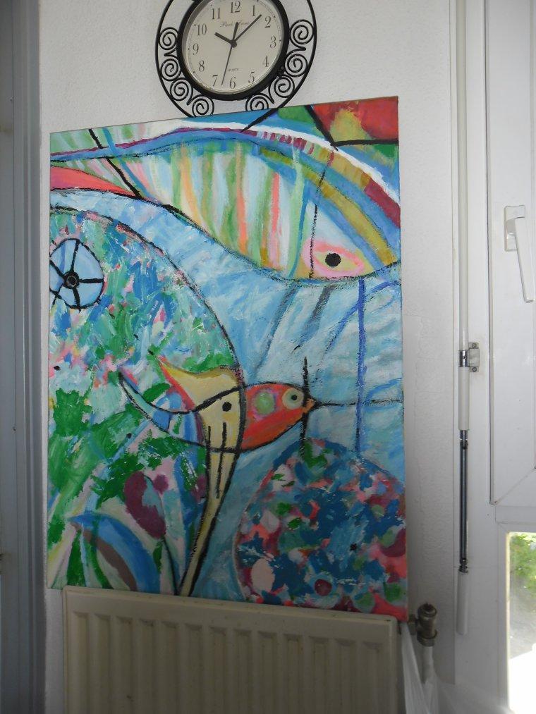 Tableau à la peinture acrylique spontané : fin mai 2014 (Celui qui m'a tourné le dos )