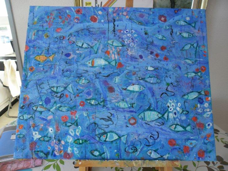 Les fonds marin, vue par moi...Peinture sur toile (août 2014)
