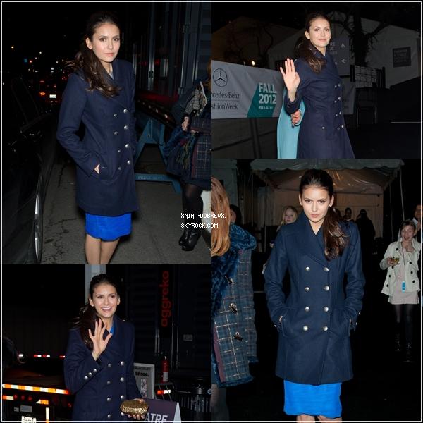 Nina était à différents défilés pour la collection d'Automne 2012 lors de la Fashion Week de New York.
