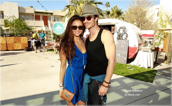 14/04/12  Nina et Ian Somerhalder à la Burton Pool Party pour le Festival Coachella.