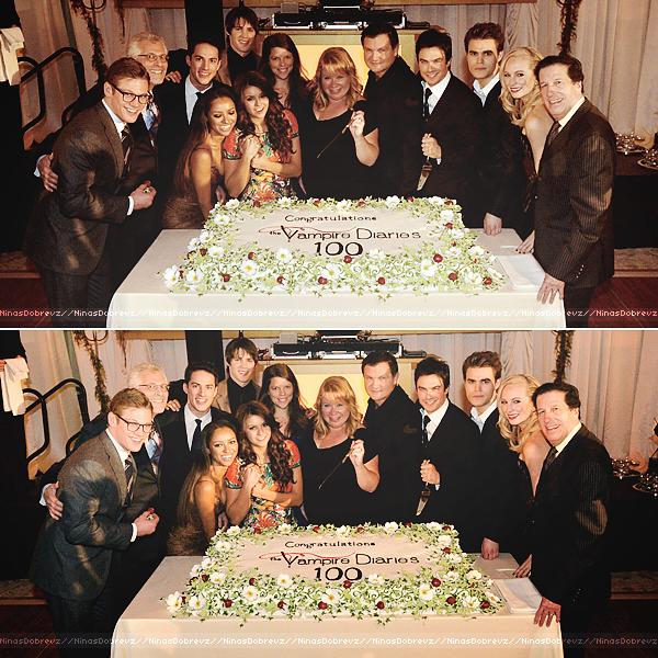 09/11/2013 Nina ainsi que le reste du cast et celui de The Originals étaient présents à la soirée organisée en l'honneur du 100ème épisode de The Vampire Diaries.
