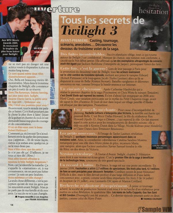 """* Flash-Back: Kristen et Robert Pattinson ont fait la couverture de """"Télé 2 semaine du 8 au 21 mais 2010. *"""