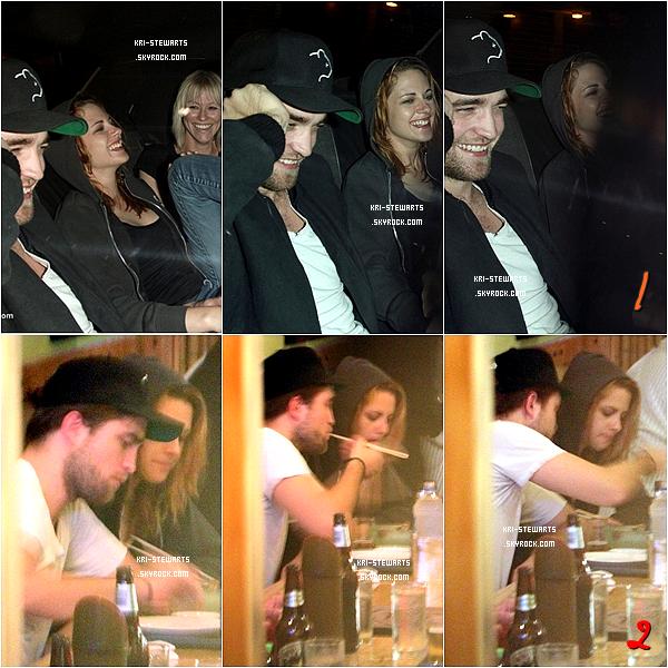 * 10 octobre:__ Kristen et Robert allant (1) et dînant (2) dans le restaurant japonais Marsuhisa à Los Angeles.*