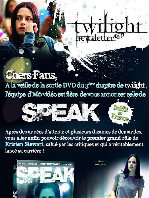 * En attendant les news découvre le film, qui pour moi est le meilleur, 'SPEAK' ! Il date de 2004 et viens de sortir en France !*