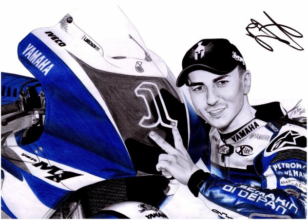 . 092. JORGE LORENZO, champion du monde moto (dédicacé par Jorge Lorenzo).