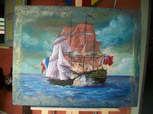 nouveaux tableau fini ce jour u0026quot  le renard et l u0026 39 anglais u0026quot   le bateau de surcouf  corsair de st malo