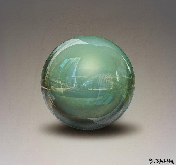 """Ma première création 3D """"sphère 3D surréaliste"""""""