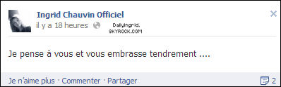 • FACEBOOK: Petit message d'Ingrid.