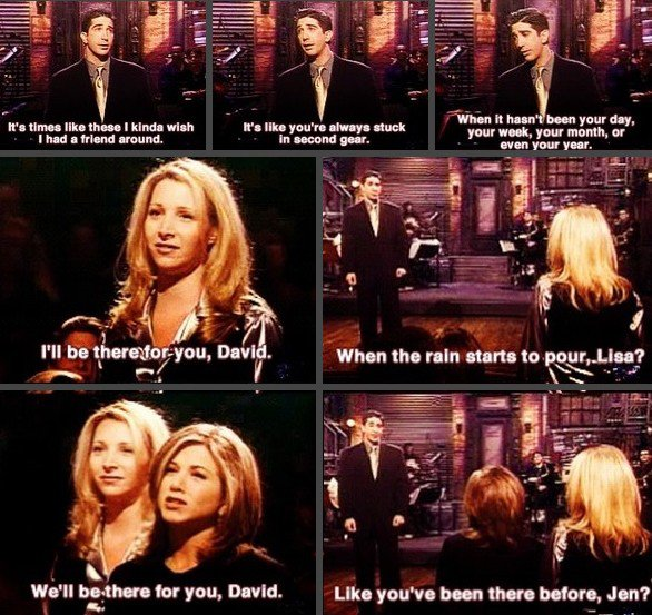 """I'll be there for you"" plein de tendresse par David, Lisa et Jennifer ❤"