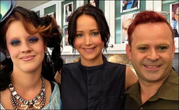 . Voici des photos BTS de Jennifer sur le set d'Hunger Games 2 : Catching Fire  .