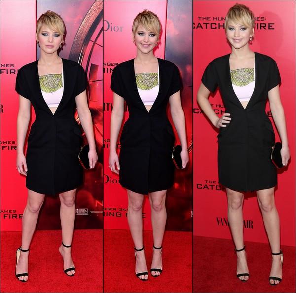 .   20/11/2013 :  Jennifer était à l'avant-première d'Hunger Games 2 : Catching Fire à New York .