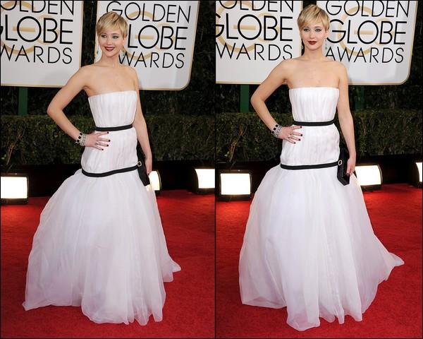 .   12/01/2014 :  Notre jolie Jennifer s'est rendue à la cérémonie des Golden Globe Awards   C'était vêtue d'une robe Dior que la miss y est allé, et elle a remporté le prix de la Meilleure actrice dans un Second Rôle pour American Hustle !.