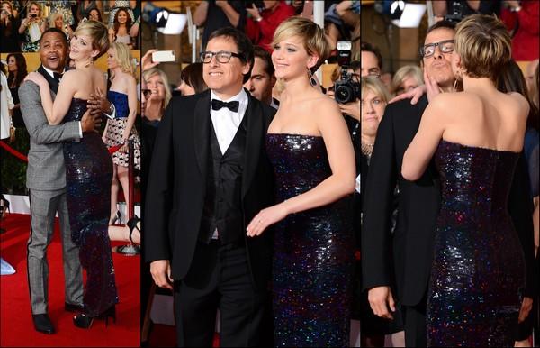 .   18/01/2014 :  Jennifer était présente à la cérémonie des Screen Actors Guild Awards 2014    Notre JLaw était une fois de plus vêtue d'une magnifique robe Dior.