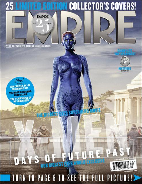 . Mystique, le personnage de Jennifer dans X-Men, fait la couverture d'Empire Magazine de l'édition mars 2014 .