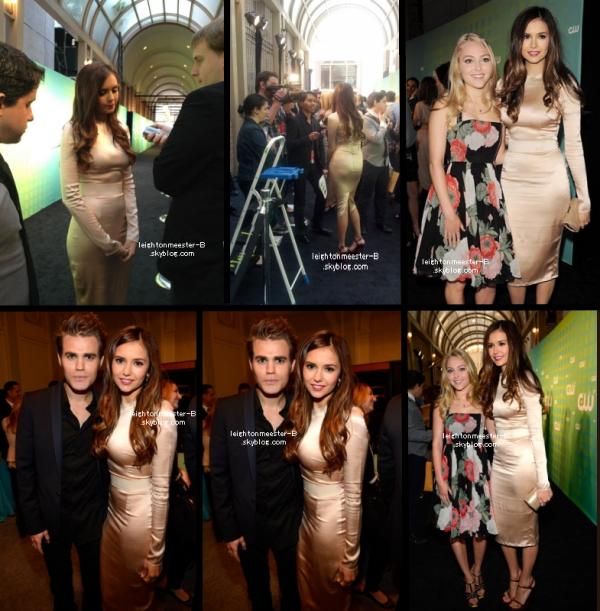 `EVENT :17 mai 2012 Nina arrivant à la soirée CW Upfronts dans une sompteuse robe D&G & sortant de son hôtel dans une nouvelle tenue pour aller à l'after party qui se déroulait au restaurant Colicchio & Sons.  Elle a été vu en compagnie de Paul Wesley, AnnaSophia Robb et bien sure Ian (; + Une photo du twitter de Lei', où nous la voyons, belle comme toujours.    Que penses-tu de sa tenue ? Son make-up est sublime.