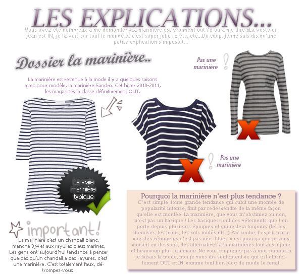 LOOK:Explication sur la marinère et la veste en jean.