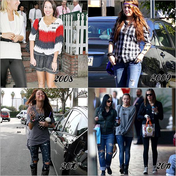 Miley au fil des années : 2008 / 2009 / 2010 / 2011. Qu'en penses tu ?