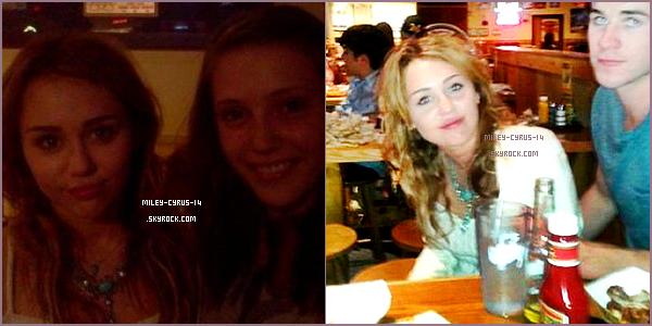 16/07/2011 : Miley a rejoint son cher et tendre , Liam , qui est actuellement sur le tournage d'un nouveau film dans le michigan. Ils ont été reperés dans la soirée d'hier dans un restaurant. ( photos de mauvaises qualitées sorry )