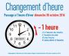 PASSAGE À L'HEURE D'HIVER DIMANCHE 30 OCTOBRE 2016