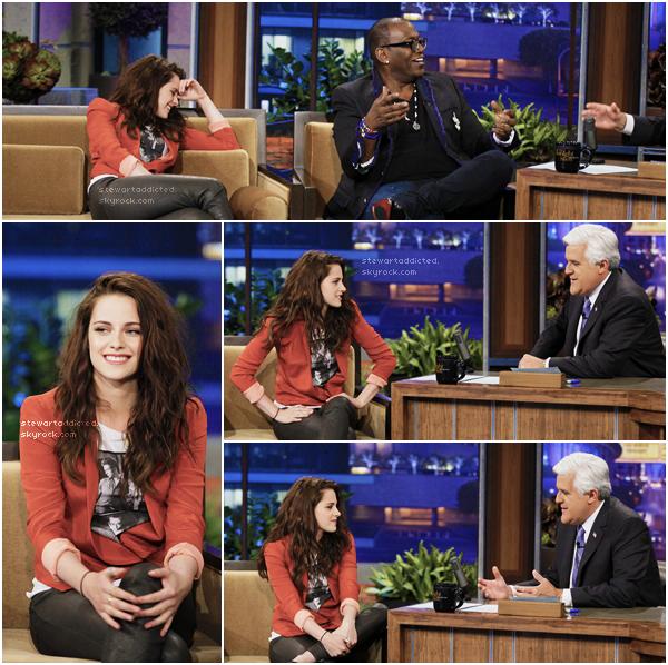 04.05.12: Kristen était  a l'émission The Tonight Show with Jay Leno pour promouvoir SWATH . Vidéo