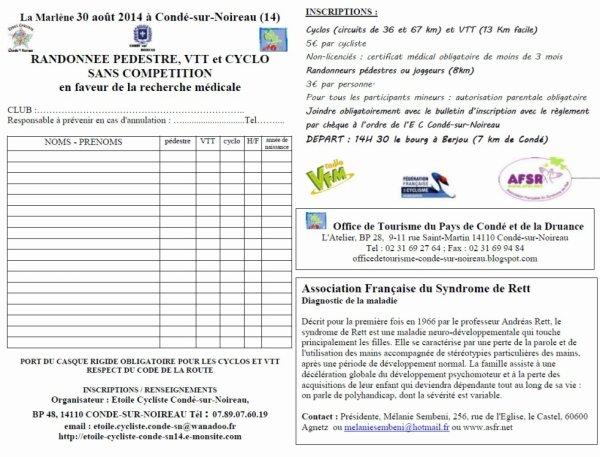 Invitation de l' EC Condé s/ Noireau - La Marlène 30 Aout