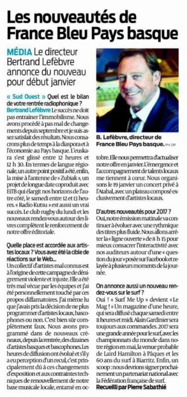 Les nouveautés de France Bleu Pays Basque