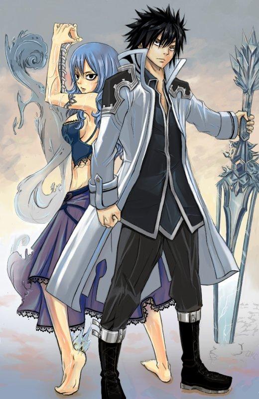 jubia et grey en tenue de combat