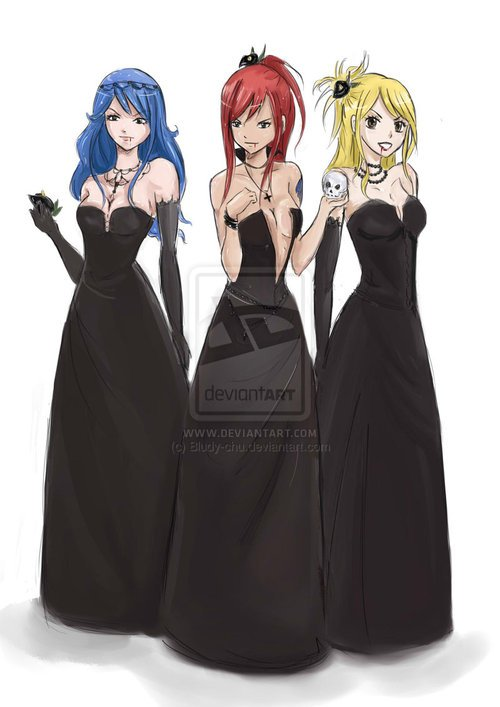 lucy,erza,jubia gothique