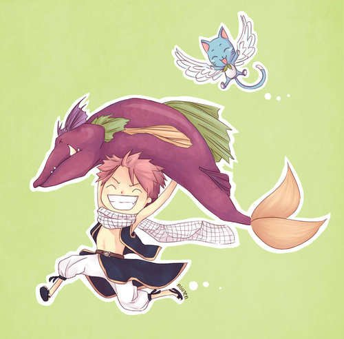 natsu, happy+poisson = délire