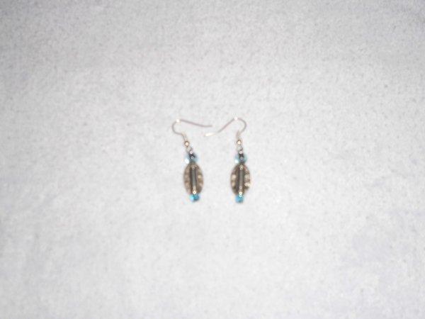 boucles d'oreilles perles et boucle d'oreille fil alu noir