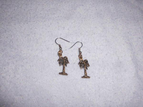 boucles d'oreilles palmier bronze