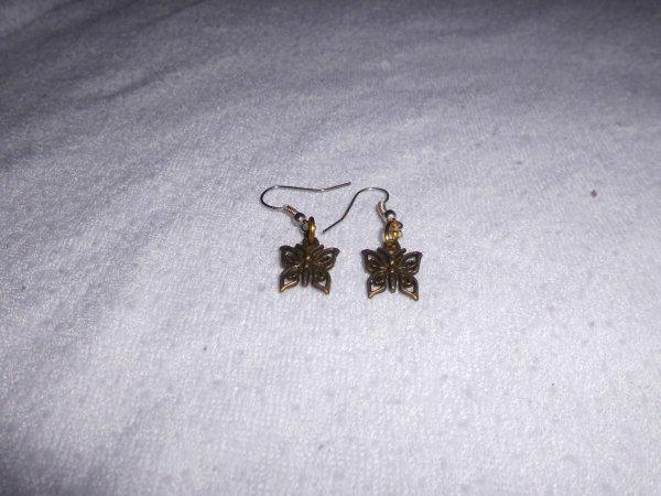 boucles d'oreilles papillon bronze