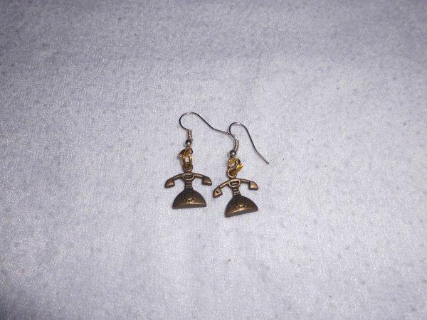 boucles d'oreilles telephone bronze