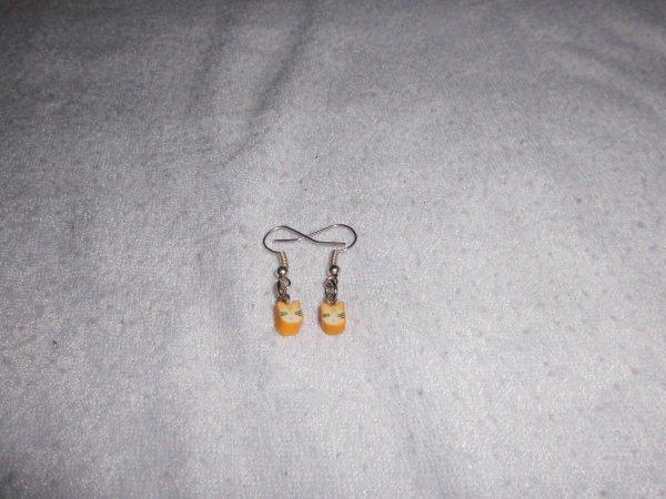 boucles d'oreilles canes fimos chat jaune