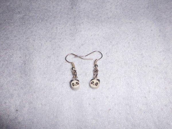 boucles d'oreilles canes fimos panda