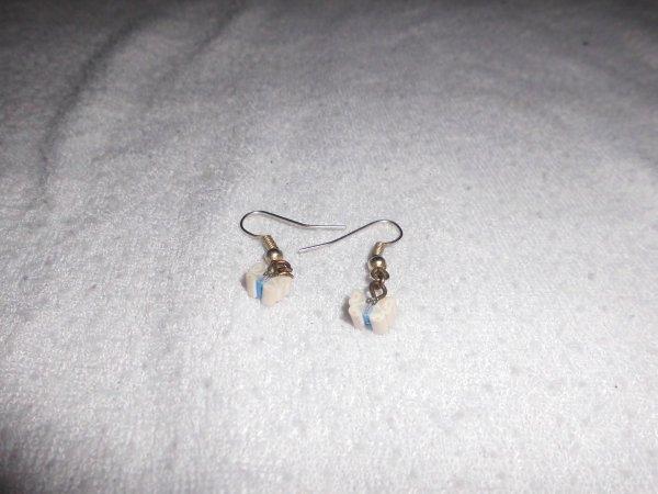 boucles d'oreilles canes fimos papillon blanc