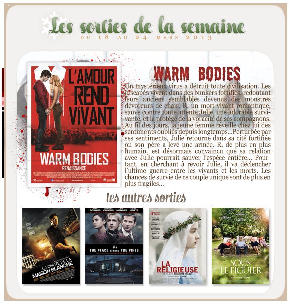 _____________Les sorties de la semaine du 18 au 24 mars 2013.  _________________________________________________Votre avis, quels films vous tente?