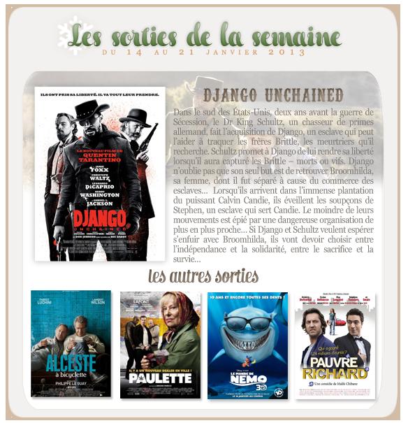 _____________Les sorties de la semaine du 14 au 21 janvier 2013.  _________________________________________________Votre avis, quels films vous tente?