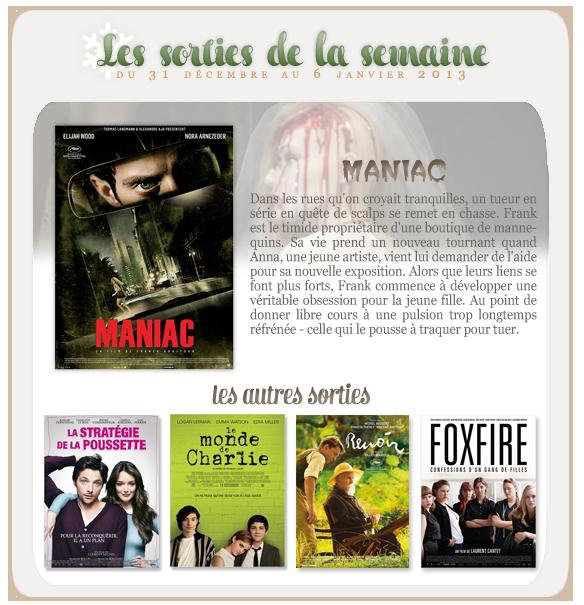 _____________Les sorties de la semaine du 31 décembre au 06 janvier 2013.  _________________________________________________Votre avis, quels films vous tente?