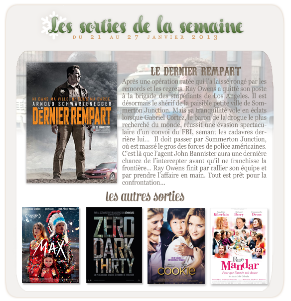 _____________Les sorties de la semaine du 21 au 27 janvier 2013.  _________________________________________________Votre avis, quels films vous tente?