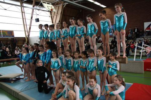 Une équipe de La Quimpéroise gym vice championne de Bretagne fédéral B à Lanester.
