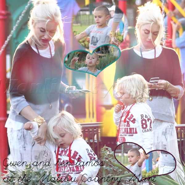 Gwen and the Boys : at the Maliby Country Mart // Kingston and his nanny : Day out in Studio City
