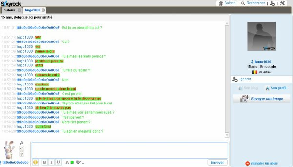 Discussion sur le chat avec un pervers !