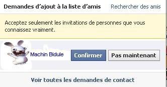 Facebook N'acceptez que les invitations des personnes que vous connaissez vraiment